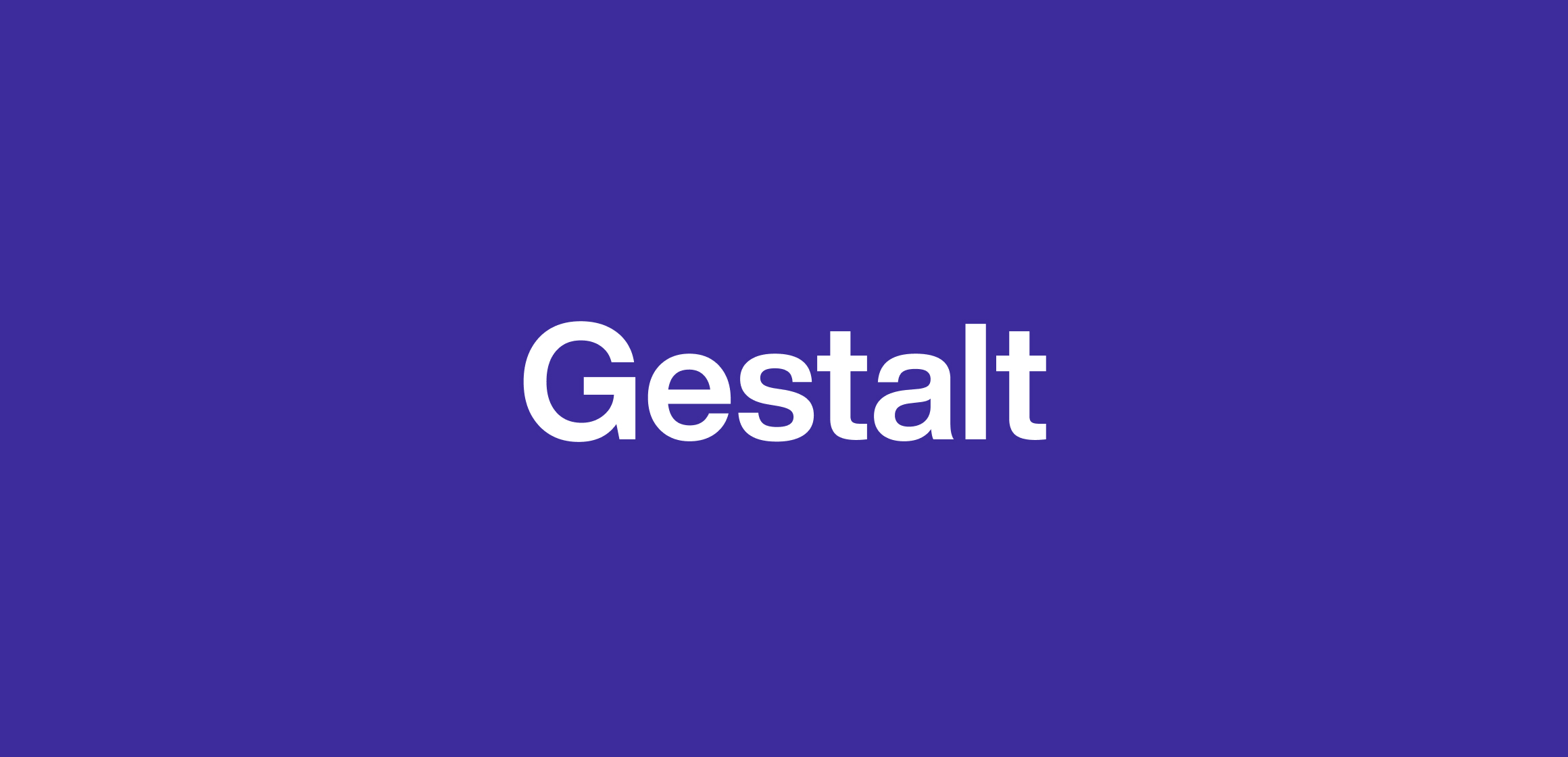 A purple picture with gestalt written in sans serif.