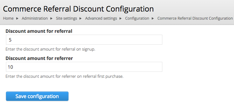 discount amount configuration