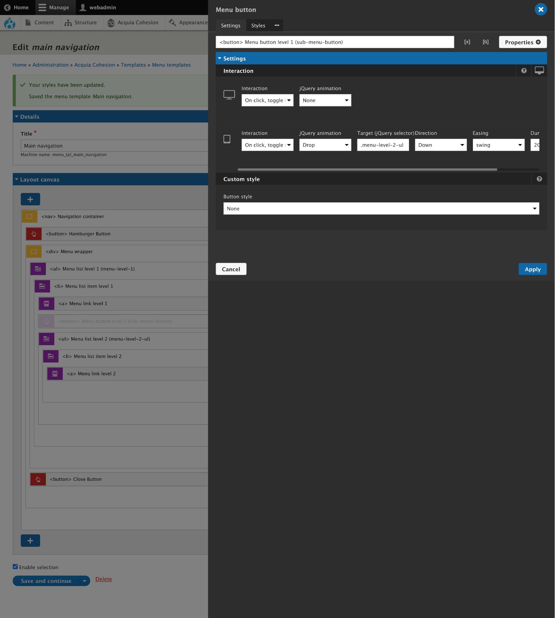 Hamburger menu with Acquia Site Studio