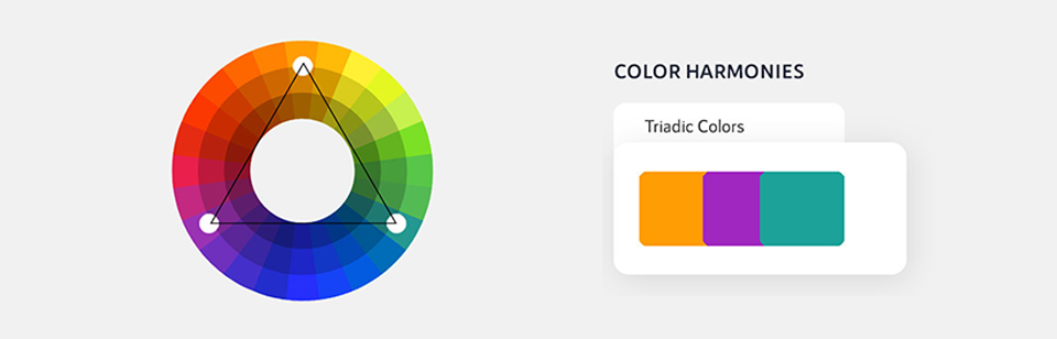 Triadic color scheme is designed with three colors which are placed equidistant from each other on the color wheel.